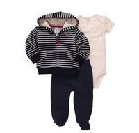 1pcs baby boy's longsleeve suit 2014 spring/autumn ortginal carters stripe coats+infant romper+pants 3-piece set baby clothes