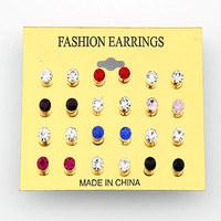 12pcs New Fashion Korean sweet Earrings Simple Gold Stud Earrings For Women (Random Color)accessories Jewelry Brincos Wholesale