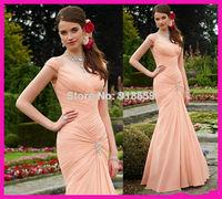 Coral Peach Cap Sleeve Pleated Chiffon Mermaid Long Bridesmaid Dresses Dress Prom Gown