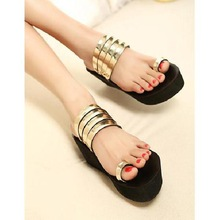 High quality women's platform sandals slope with thick crust muffin waterproof metal sleeve toed sandals women sandals(China (Mainland))