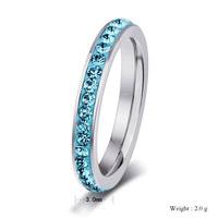 crystal ring  for women and girl gift  Elegant stainless steel rings colorful crystal row small ring R-078