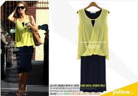 Free shipping 2014 new fashion women Chiffon long dress two pieces Casual dress Bohemian sleeveless dress Plus size
