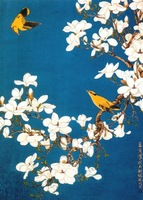 Free shipping apricot blossom & brids printed oil painting on canvas  bh-73A