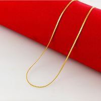 high quality 24K Yellow gold plated Side chain snake chain of ultrafine 0.8mm style fashion woman's  chain necklace