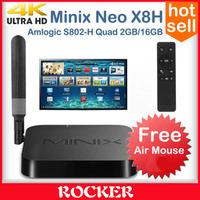 MINIX NEO X8-H 4K Android TV Box Quad Core Amlogic S802-H 2GB 16GB XBMC 4.4 Kitkat Smart Mini PC,X8H Dual Band WIFI 2.4G/5.8G