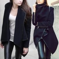 2014 New Women Woolen Winter Warm Zipper PU Edge Trench Coat Jacket Outwear  S-XXL