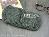 Fashion Knitted Headband For Women simple Headwear  with flowerFree shipping Crochet Handmade Band Wholesale Accessory Life Show