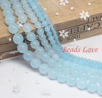 "wholesale 4,6,8,10,12mm Aquamarine Jade Round Loose Stone Beads AAA+ 15.5""/strand Pick Size Free Shipping(F00028)"