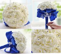 simulation White Rose flowers Romantic wedding bouquets bride handmade bouquet bridal accessories Birthday Gift D168
