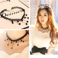 Fashion Vintage Black Lace braid Sexy Tassel Hippy Chic Choker Women Pendate Necklace