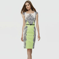 S-XXL Elegant Ethnic Print Dress Women Lady Sleeveless Work Career Office Party Dress 2014 New Fashion Summer Autumn C9ML139