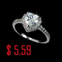 White Gold Plated Heart Shaped Sparkling Cubic Zirconia CZ Simulated Diamond Engagement Ring