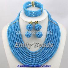 New Amazing 2014 Fashion Lake Blue Crystal Beads Jewelry Set 8 10 12 Layers Nigerian Wedding