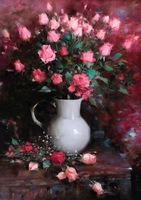 Free shipping classica pink roses wall art   printed oil painting on canvas  BMF140604