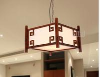 Restaurant droplight solid wood antique imitation sheepskin lamps and lanterns lighting of carve patterns or designs on woodwork