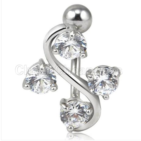 One Pcs Bling Fashion Elegant 4 Gem Vine Reverse Belly Navel Ring Classy Piercing Jewelry