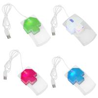Clear 3D Ergonomic Design Optical 7 Colorful Change Crystal LED USB Mouse Mice