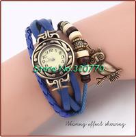 1Pcs! Newest! Leather Vintage OWL Watch Bracelet Wristwatches Synthetic For Women/Men Dress Quartz Multi-Colors Dropshipping!