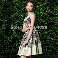 Women Big Hems A-Line Dress Best Quality Short Sleeve Floral Print Dresses Fashion Slim Look Gorgeous Party Evening Dress