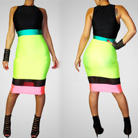 2014 new style multicolored patchwork mesh see through sleeveless tank knee-length cocktail night club party sheath dress GX020