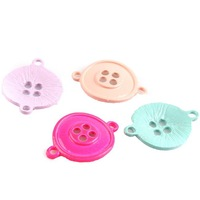 Wholesale 45pcs/lot Painting Colorful Buttons Shape Alloy Connector Pendants Fashion Jewelry Charms 28*21*3mm Fit DIY 161832