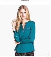 blusas femininas roupas femininas Satin V-neck long-sleeve chiffon shirt female long gown haoduoyi blouses shirt women work wear