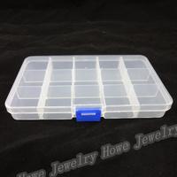 Wholesale Hot Portable 15 Lattice Transparent Plastic Box Grids Jewelry Storage Box  Makeup  Jewelry Box