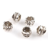 Wholesale 300pcs/lot New Antique Silver Flower Shape Round Alloy Beads Charms Fit Bracelets DIY 153386 Free Shipping