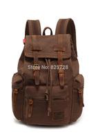 Coffee Men Women Vintage Canvas Genuine Leather School Military Shoulder Bag Backpack High Quality Travel Hiking Bag Rucksack