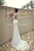 2014new arrivals Lady's white ivory mermaid lacework wedding bridal dress custom size 6 8 10 12 14 16 18