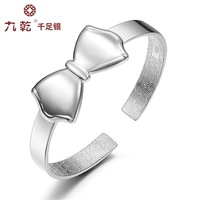 With certificate real genuine 999 fine silver female women ladies' girl's butterfly bow bowknot bangle bracelet wedding gift