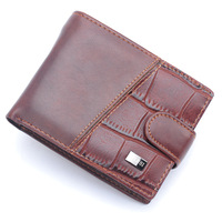 2014 Male good Leather Casual Short Design Wallet Card holder Zipper pocket Fashion Purse for men