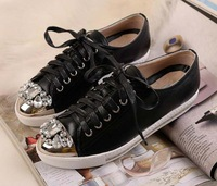 2014 new free shipping womens real patent leather brand flat metal crystal rhinestone toe lace-up sport casual sneaker run shoe
