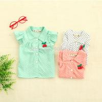 The 2014 Summer cherry dot girl short sleeved shirt,S-XL,4pcs/lots,free shipping