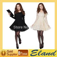 Hot-Selling 2014 Spring Women'S Solid Color Loose Lantern Sleeve Elegant Noble Sexy dress Wild Slim Long sleeve Lace Tassel