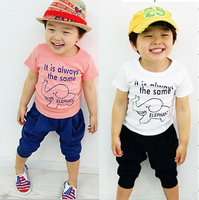 elephant cartoon cool sports boy pink T-shirt blue seven haroun  pants 2 piece suit for girls kids children clothing 2 colors