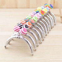 k240 stripe lollipop Candy bead Purse frame 8.5CM bright and clean semicircle Silver lace Metal-opening Bags Kiss Clasp