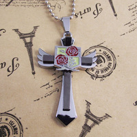 10pcs/lot Free Shipping Fashion Flower Flying Wing Angle Cross Pendant Necklace With Stainless Steel Chain