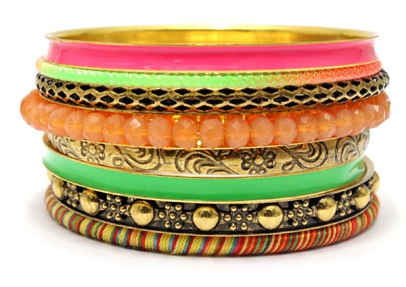 Vintage Unique Designed Fashion Indian Bangle Set Mix Neon Color Green Pink and Orange Crystal Beaded Bracelets. Costume Jewelry(China (Mainland))