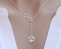 30 PCS- infinity Lotus lariat necklace,figure 8 eight lotus flower necklace Jewelry in Silver/gold -Free shipping