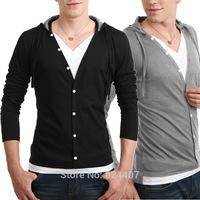Men's Casual Long Sleeve Hoodies Sweatshirt Black Grey Sportswear Tracksuits Autumn Thin Clothing Plus Size 2XL Fall 2014 New