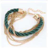 Fashion black luxury braided multilayer bracelet alloy bangle fashion jewelry 8 color