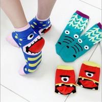 New 2014 Creative bottoming socks women's candy color short cotton cartoon socks sleeping socks 10pcs=5pairs 5 colors S018
