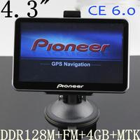 "FREE SHIPPING 4.3"" 4.3INCH GPS NAVIGATOR MTK OS CE6.0 CPU 533M ddr 128M Internal 4GB +AVIN+FM+BLUETOOTH+GO PRIMO NAVITEL MAP"