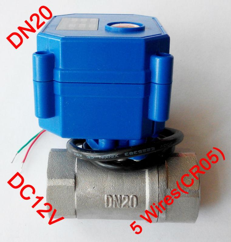 "Гаджет  3/4"" Mini electric valve 5 wires(CR05), DC12V motorized valve SS304, DN20 electric miniature valve with signal feedback None Строительство и Недвижимость"