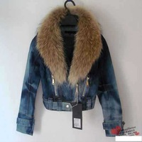 2014 women's Spring plus size denim  large jacket  Women  maxi patchwork  denim jacket,Free shipping