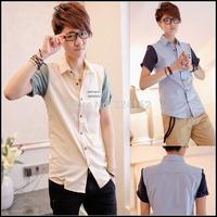 2014 new f ashion  men shirt Korean cultivating man short shirt casual summer shirts tide for men free shipping
