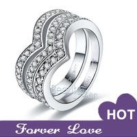 Fashion V-shaped Row-diamond Couple Rings Sona Synthetic Diamond Wedding Engagement Rings Platinum Plated two rings Pt950
