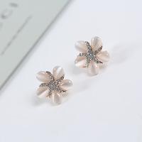 Fashion Fresh Sweet Style Jewelry Diamante Cat's Eye Five-Petal Flower Shape Stud Earrings for Women Free Shipping