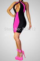 Super Fashion Halter Neck Color Patchwork Women Summer Dress Party Dresses M L XL